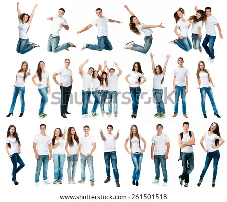 photo collage of young boys and girls in t-shirts and jeans isolated on white background - stock photo