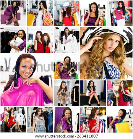 photo collage on the theme of shopping
