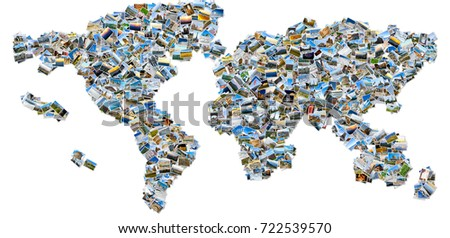 Photo collage world map created travel stock photo image royalty photo collage the world map created from travel images isolated on white background gumiabroncs Images