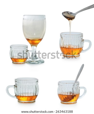 photo collection cup honey with honey, isolated on white background - stock photo