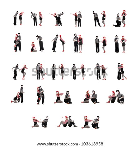 photo collection of two funny mimes isolated on white background - stock photo