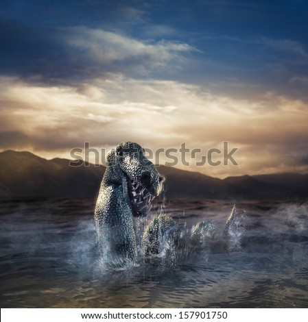Photo composite of Loch Ness Monster - stock photo