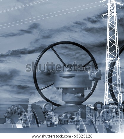 Photo-Composition about technology of an industrial plant.