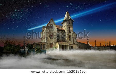 Photo composition with an abandoned haunted house for Halloween holiday. - stock photo