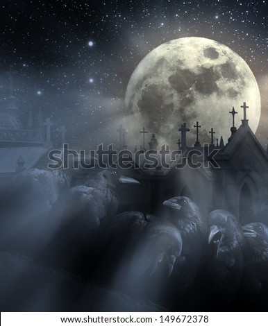 Photo composition with flock of crows, old European Cemetery with lot of crosses, full moon, stars and light beams between night mist