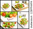 Photo composition with healthy food, salad with lettuce and tomatoes - stock photo