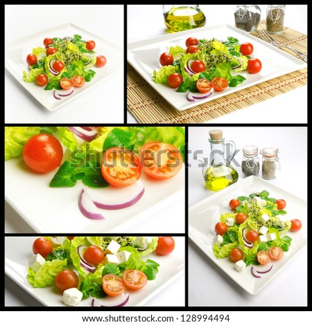 Photo composition with healthy food, salad with lettuce and tomatoes