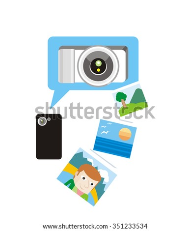 Photo concept flat design style. Photo frame, camera and photography, picture and photo album, photo icon, technology device, equipment illustration. Raster version - stock photo