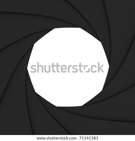 Photo diaphragm open over white. computer generated image - stock photo