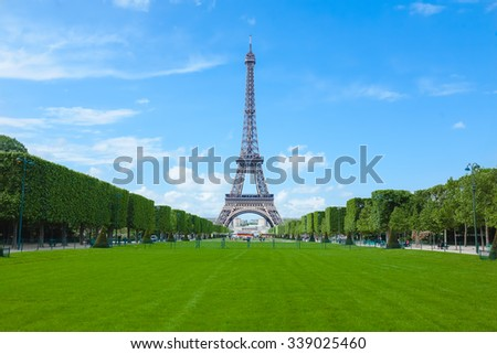 Photo Eiffel tower in sunny day. Paris. France.