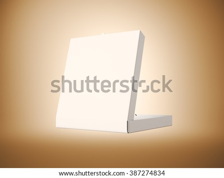 Photo empty white paper open pizza box on abstract background. Horizontal mockup. 3d render - stock photo