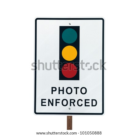 Photo Enforced traffic light warning sign in sunny Beverly Hills California. - stock photo