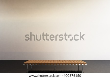 Photo exhibition modern gallery. Blank white empty wall  contemporary art museum. Interior loft style with concrete floor. Picture generic design furniture. 3d rendering