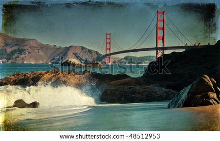 photo famous beautiful san francisco golden gate bridge grunge - stock photo