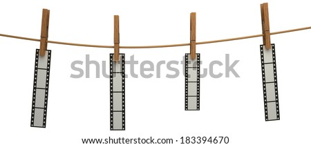 photo film hanging on a clothesline. Isolated on white. 3d - stock photo