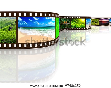 Photo film with reflection on white - stock photo