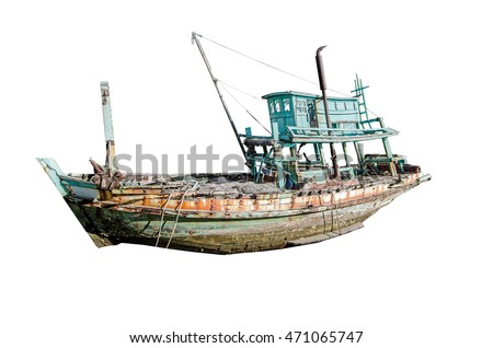 Photo fishing boat, Isolate photo on white background with clipping path