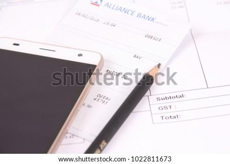 photo bank slip payment receipt mobile stock photo 1022811673