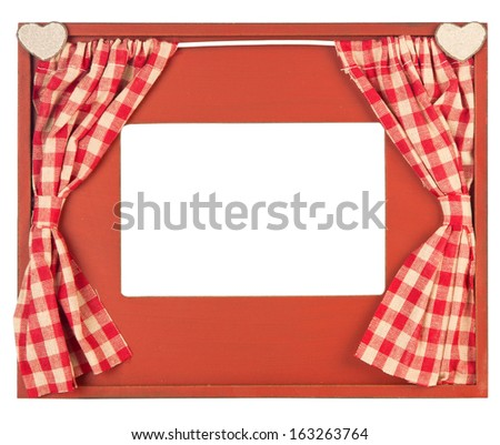 Photo frame adorned with red check curtain and hearts on white background - stock photo