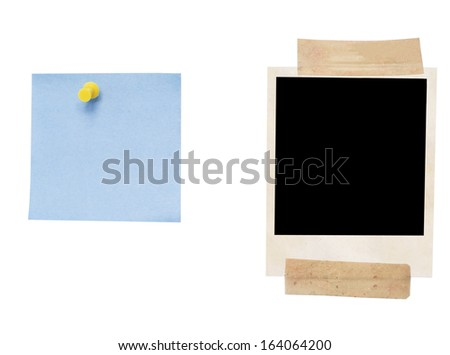photo frame and empty blank isolated on white - stock photo