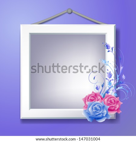 Photo frame and floral ornament.  Raster version of vector. - stock photo