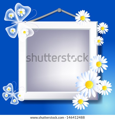 Photo frame, daisy and transparent butterfly. Raster version of vector. - stock photo