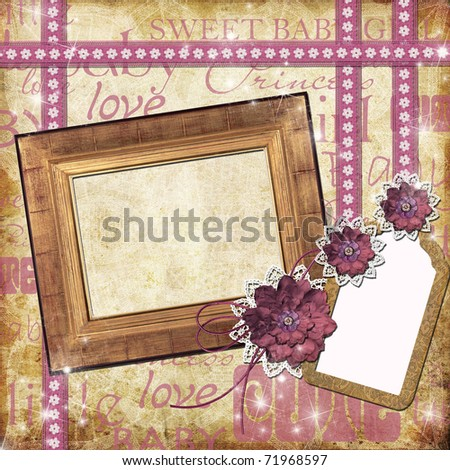 Photo frame for a girl with a flowers,  lace, tage - stock photo