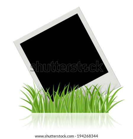 Photo frame in green grass template isolated on white background. Instant film. Raster version. - stock photo