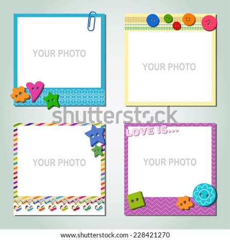 Photo frame on a colorful background The composition with the photos  on a colorful background  - stock photo