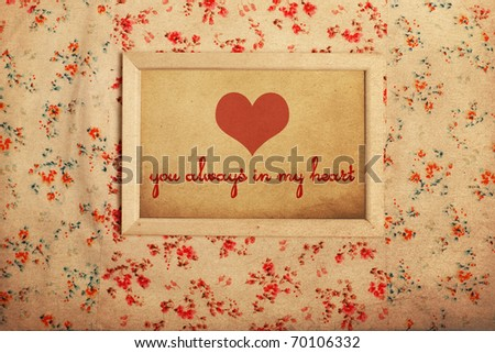 photo frame on beauty colored pattern, you always in my heart