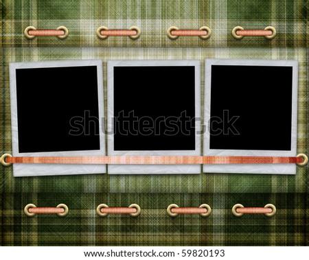 Photo frame on fabric background - stock photo