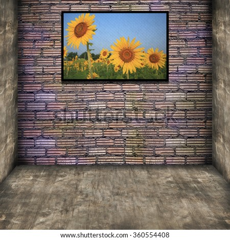 photo frame on old brick wall - vintage effect style pictures  - stock photo