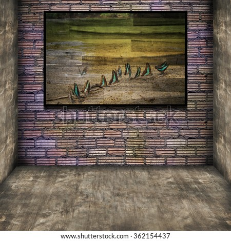 photo frame on old brick wall - vintage effect style pictures