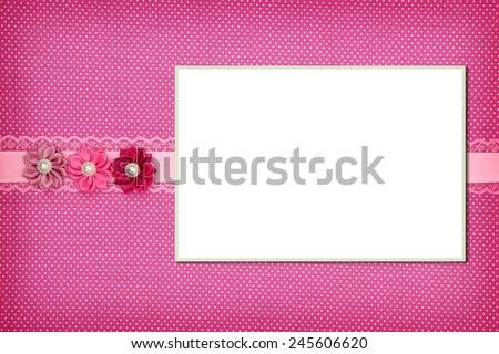 Photo frame on pink polka dot background - stock photo