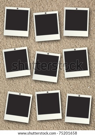 Photo frame on the sand background - stock photo