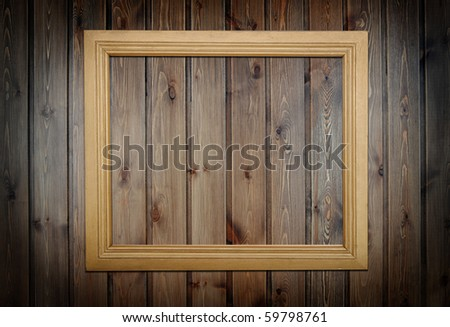 photo frame over pannel wood background