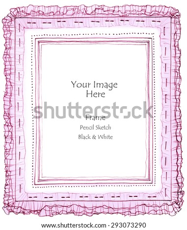 Photo Frame Pleated Fabric Pencil Freehand Stock Illustration ...