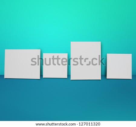 Photo frame templates. White canvas background - stock photo
