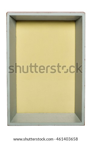Photo frame with yellow background isolated on white with clipping path