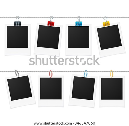 Photo Frames and Pin on Rope. illustration - stock photo