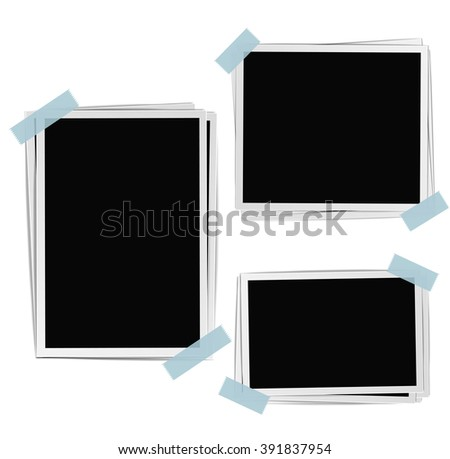 Photo frames composition with tape on white background. Raster - stock photo