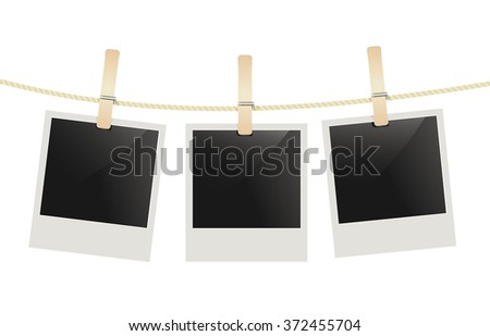 photo frames hanging on a rope with clothespins. raster  - stock photo