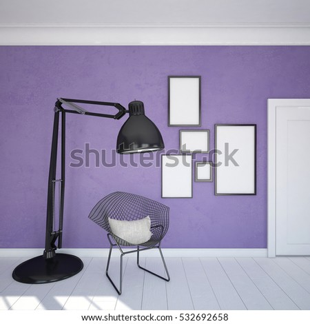 Photo frames on a purple wall,  next to the chair and floor lamp