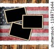 Photo frames on grunge USA flag - stock photo