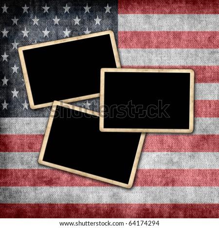 Photo frames on grunge USA flag - stock photo