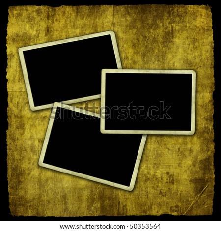 Photo frames on grunge wall - stock photo