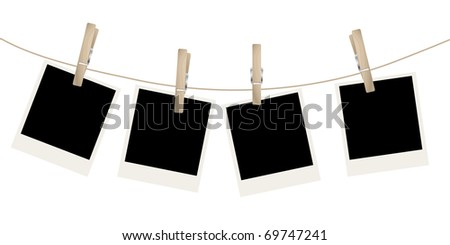 Photo frames on the rope - stock photo