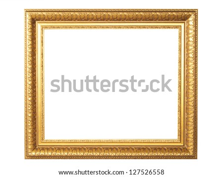 photo frames on the white background vintage photo gold frame retro frame collection painting edge picture exhibit art antique golden large masters gallery oak museum present goldleaf fotoisolated  - stock photo