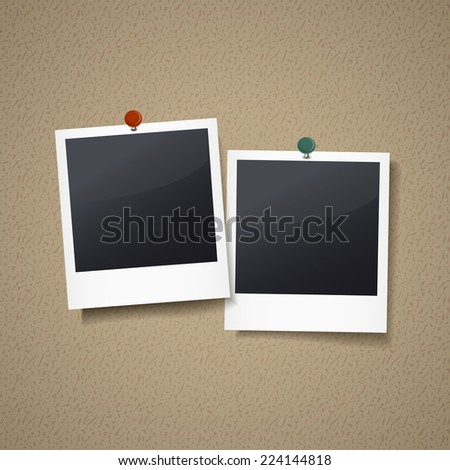 photo frames with pin isolated on corkboard - stock photo