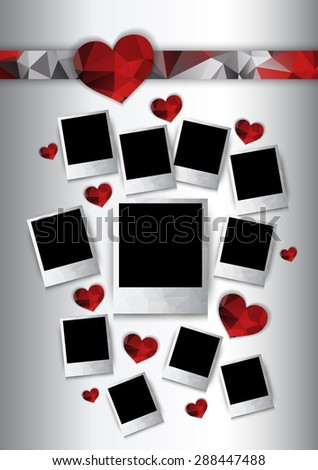 Photo frames with red hearts. Polygonal geometric stylized design. Raster version - stock photo